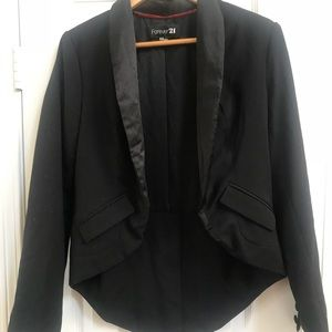 Black blazer with tail coat and button sleeves